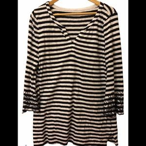 Talbots striped tunic with embroidered sleeves